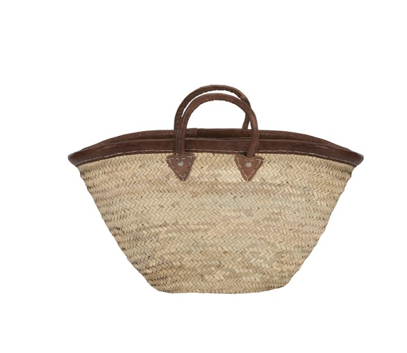 Provencal Basket with Leather Trim