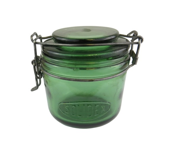 Vintage Green Glass Jar, small