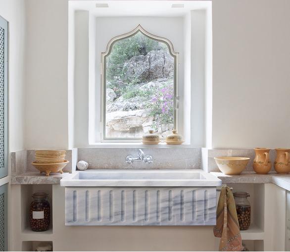 Marble Kitchen Sink, fluted
