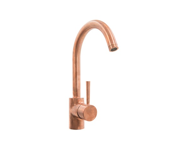 Copper Mixer Tap, one hole with high swivel spout