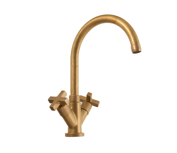 Raw Brass Mixer Tap with Cross Handles